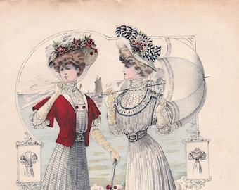 Engraving mode from the Journal of the ladies dated July 1, 1907. Mode. Couture. french vintage!