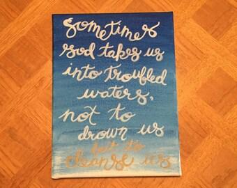 Custom Canvas - Ombre Watercolor & Quote