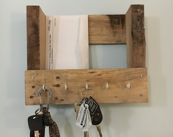 Wooden Key and Mail Holder