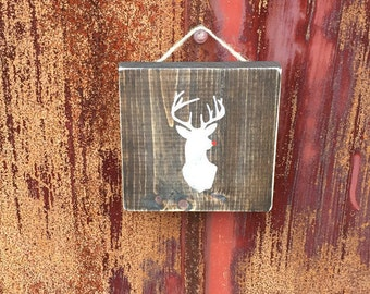 Hand-painted Wooden Rudolph Sign – Christmas, rustic
