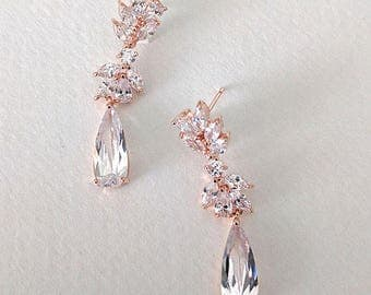 Bridal cubic zirconia rose gold earrings - Emma