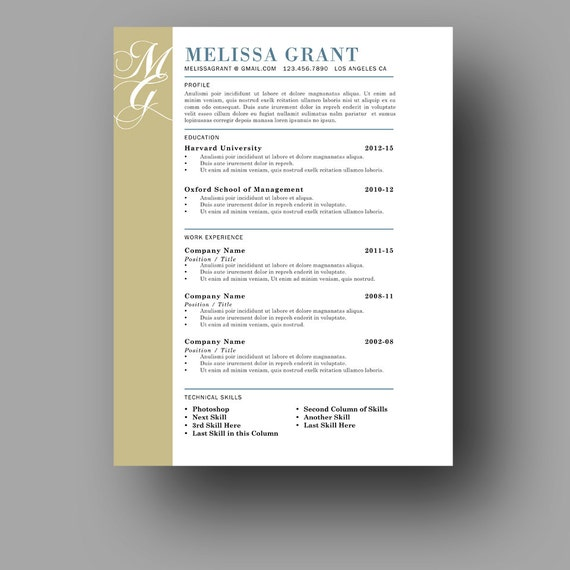 one page resume template modern and elegant resume cover letter