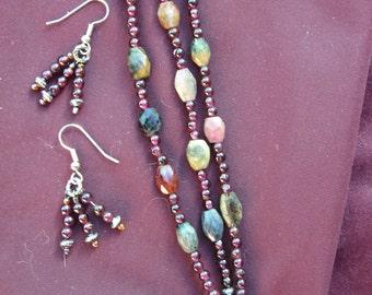 TRIPLE-Strand TOURMALINE and GARNET Bracelet -Handmade
