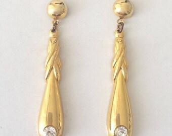 Vintage 1970's Diamante Crystal Rhinestone Dangle Drop Earrings