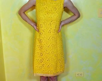 1960s Yellow Eyelet Shift Dress