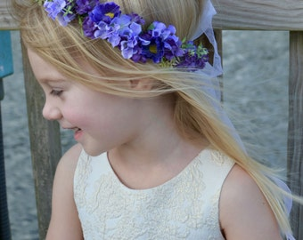 "The ""Paisley"" floral halo crown // Sheer Ribbon Adjustable Floral Crown, Princess Tiara, Purple Blooms, Flower Girl Crown, Birthday Crown"