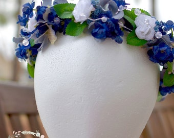 """The """"Winter"""" floral halo crown // Navy Blue Wedding // Bridesmaid Crown // Flower Girl Crown // Blue and Silver Wedding // Winter Wedding"""