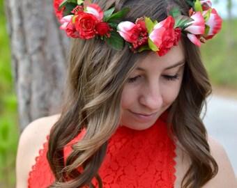 "The ""Sweetheart"" floral halo crown //  Birthday Crown, Red Wedding, Wedding Headpiece,"