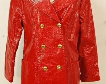 1960's Red Vinyl Mod Jacket / Raincoat / Rockabilly / Mad Men / Rare Collectable Retro