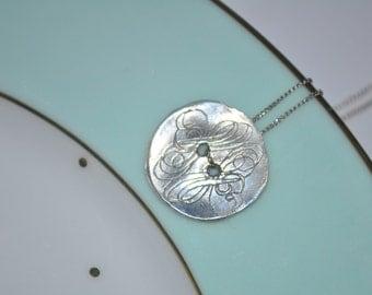 Fine Silver Vintage Button Necklace