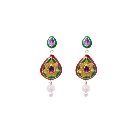 Meenakari Metal Traditional Indian Wedding Bollywood Earrings