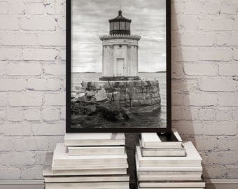 Maine Lighthouse Photo Print, Portland Harbor, Cumberland County ME, Cottage Decor, Beach Style Prints, Housewarming Gift 1962