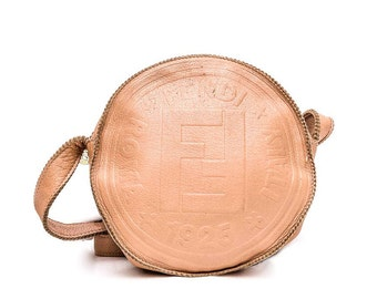 1980s Fendi beige leather crossbody bag