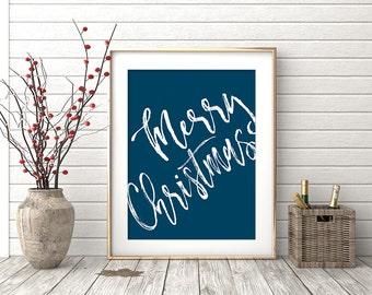 Merry Christmas Printable Wall Art, Holiday Wall Decor, Christmas Printable Quote