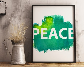 Peace Wall Art, Wall Decor, Love Joy Peace Series, Water Color, Abstract, DIGITAL DOWNLOAD