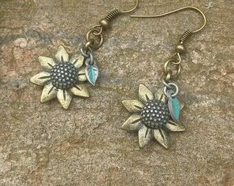 Antiqued Sunflower Dangle Boho Style Earrings