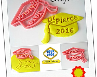 Custom Graduation Cap Cookie Cutter, Personalized with Graduate Name and Year, Grad Party