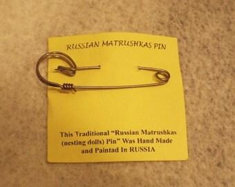 Matrushkas Russian Doll safety pin brooch
