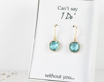Aquamarine Gold Earrings, Blue Square Earrings, Blue Gold Earrings, Bridesmaid Jewelry, Bridesmaid Earrings, Aquamarine Wedding Jewelry