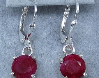 7mm Round Natural Ruby Leverback Earrings - Sterling Silver - Rubies from India - Fancy-Dancy Jewelry