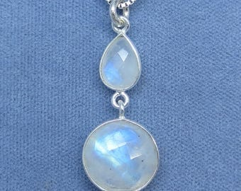 Faceted Rainbow Moonstone Necklace - Sterling Silver - P180819 - Free Shipping to the USA