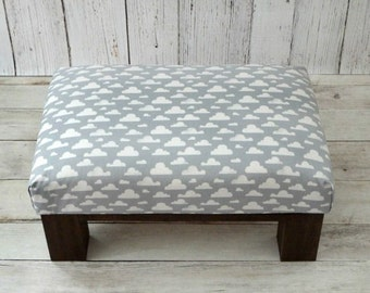Footstool nursery clouds fabric gray - nursery décor furniture upholstered ottoman - gray white nursery décor - cloud fabric pouf