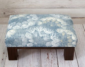 Small footstool - blue foot stool - blue pouf ottoman - rustic furniture living room - floral pattern footstool - upholstered footstool