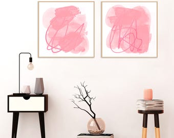 Pink Abstract Art,  Set of Two Modern Art Prints,Pink Paintings,  Pale Pink Decor, Affordable Art, Nursery Paintings, Nursery Art