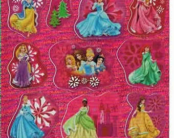 Disney Princess Scrapbook Stickers Embellishments Cardmaking Crafts 3.5x3.5 Inch Sheet