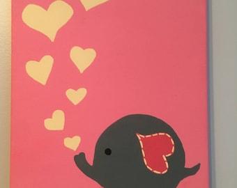 Elephant and Hearts Canvas