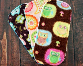 "Cloth Wipes Set of Three Reusable Cloth Wipes 3.5""x7.5"" Ecofriendly Flannel French Terry Cotton Velour Durable Washable Family Cloth"
