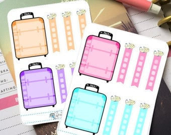Travel Checklist Stickers - Full Box Luggage Checklist, Airplane Checklist, Planner Stickers (MM026)