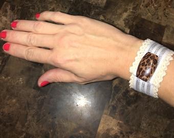 Rugged lace/leopard print/silver white stripe bracelet