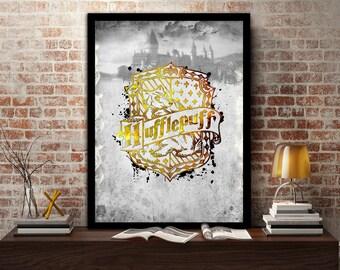Hufflepuff,House, Print, Poster, Fan Art, Harry Potter, Crest, Hogwarts,