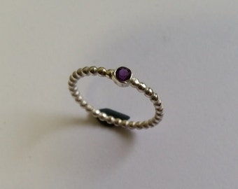 Sterling Silver Pearl wire ring with amethyst 3 mm
