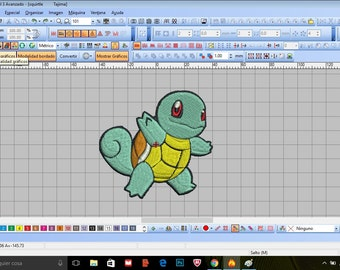 Embroidery, strikeout, matrix of Squirtle Pokemon Go