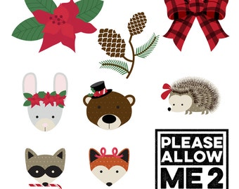 In the Woods Christmas Clip Art: Digital or Printable for Scrapbooks, Party Invites, Decor, Crafts, Card Making, Small Gift Wrap,  & More!
