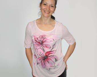 Pink shirt, Pink t shirt, Pink blouse, Pink flower shirt, Pink flower, Flower shirt, Flower blouse, Flower t shirt, Flower top, Floral shirt