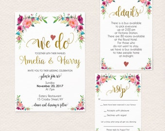 Gold Wedding Invitation, Wedding Invitation Floral Template, Wedding Invite, Faux Gold Wedding Invitation, We Do, Instant Download 2