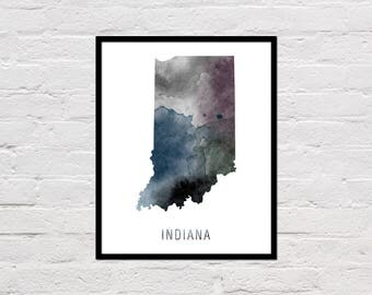 Indiana Map Print, Printable Indiana State Map, Indiana Art Print, Indiana Printable Wall Art, Watercolor Map, Indiana Poster, Download