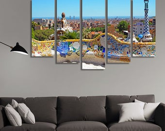 LARGE XL Park Guell in Barcelona, Spain Canvas Print Architect Antoni Gaudi. Symbol of Barcelona Wall Art Print Home Decoration - Stretched
