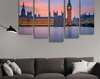 LARGE XL London Parliament Canvas, Parliament in London Canvas, Big Ben Canvas Wall Art Print Home Decoration - STRETCHED