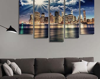 LARGE XL Lower Manhattan Skyline Canvas from Brooklyn Bridge Wall Art Print Home Decoration - Framed and Stretched - 1117