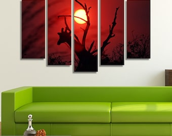 LARGE XL Sunset in Africa Canvas Silhouette of a Giraffe Wall Art Print Home Decoration - Framed and Stretched - 8001