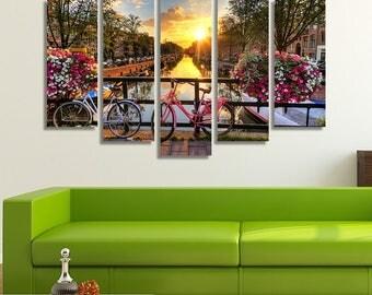 Amsterdam Print, Amsterdam, Amsterdam Art, Flower Canvas, Flower Print Wall Art, Bicycle Wall Art, Flower Wall Décor, Living Room Wall Décor