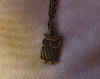 Bronze Long-Eared Owl Pendant Necklace