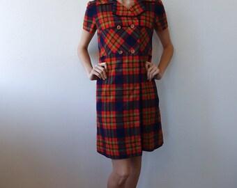 70s Mini Dress Plaid Pendleton // Vintage 1970s Wool Shift Dress Button - Small