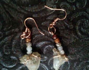 Sand tone fossil shark tooth earrings