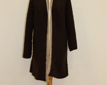 Long Collarless Cardigan (Brown/Beige)