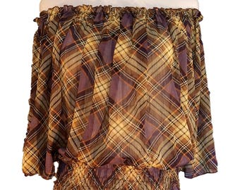 TINKUY l Women's Off Shoulder Blouse Top Shirt Purple Plaid n Checks One Size